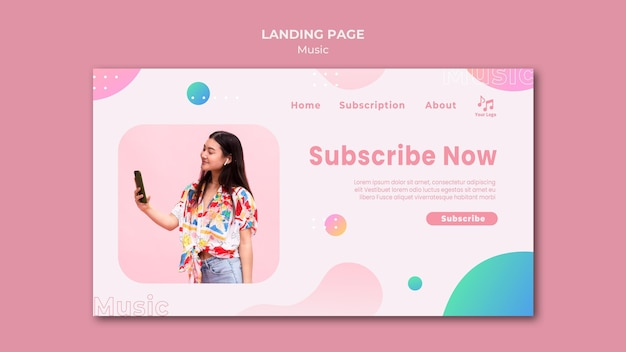 Subscribe now music landing page template Premium Psd