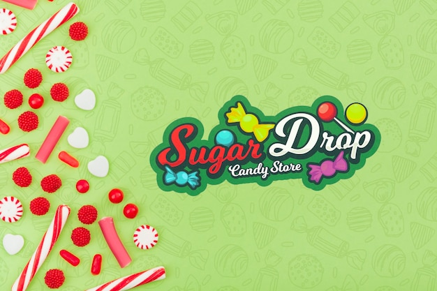 Sugar drop candy store with copy space Free Psd