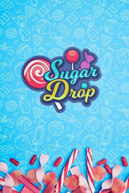 Sugar drop and petals of candies Free Psd