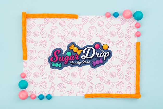 Sugar drop with colourful candy frame Free Psd