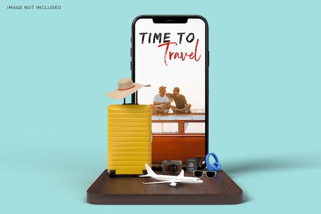 旅行用アクセサリーが付いたスーツケースとスマートフォン Premium Psd