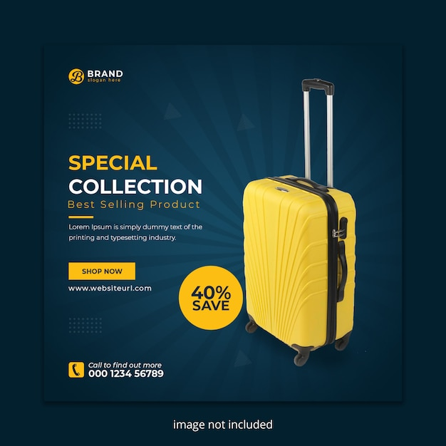Suitcase sale social media instagram post banner Premium Psd