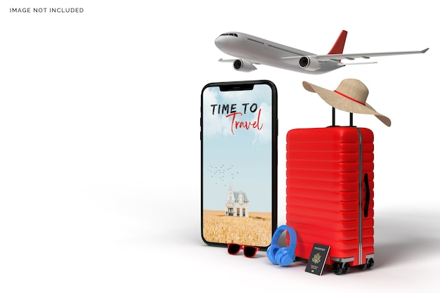 Suitcase and smartphone with traveler accessories Premium Psd