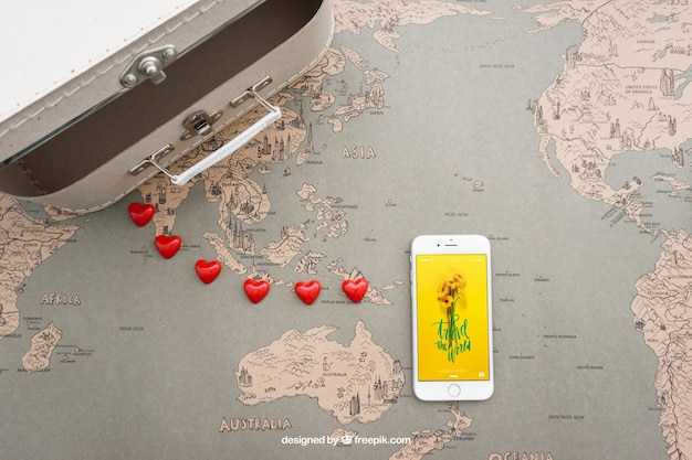 Suitcase and smartphone Free Psd