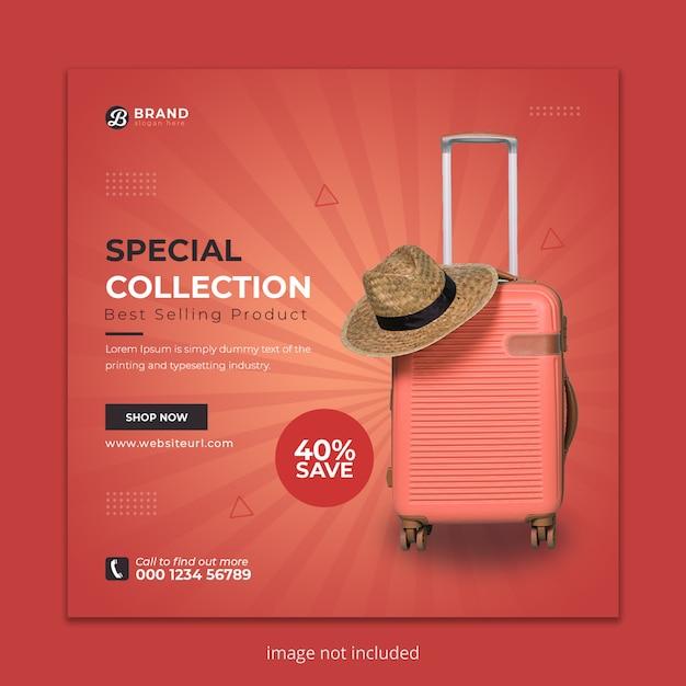 Suitcase social media instagram post banner Premium Psd
