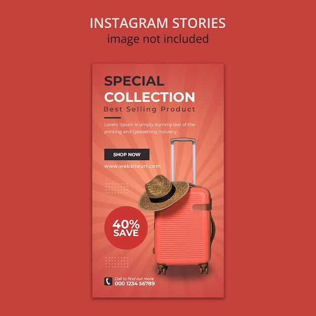 Suitcase social media instagram stories template Premium Psd