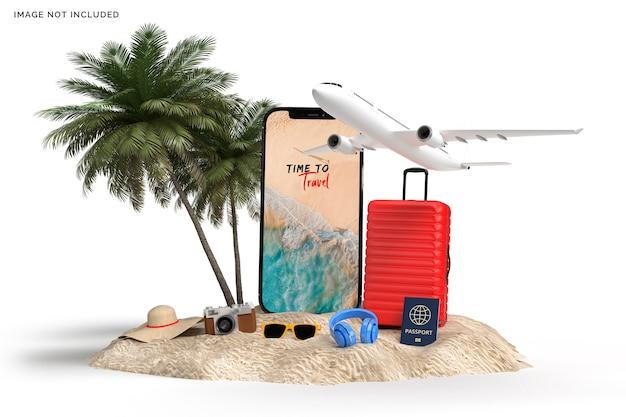 Suitcase with airplane, traveler accessories rendering Premium Psd