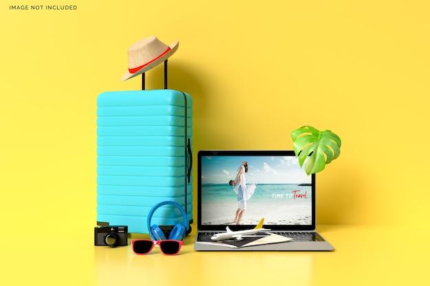 旅行者用アクセサリー付きスーツケース、重要な休暇アイテムのレンダリング Premium Psd