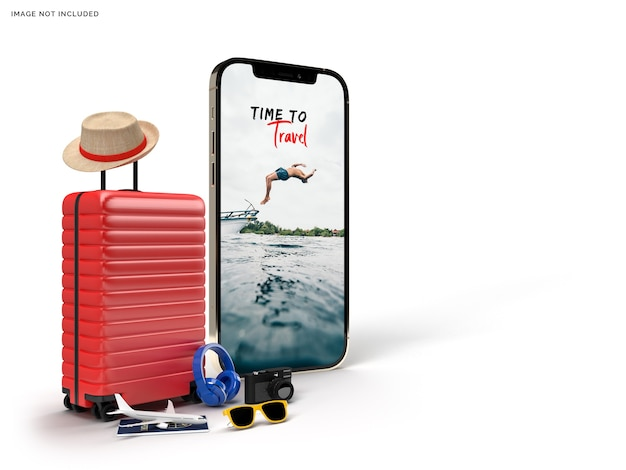 Suitcase with traveler accessories, essential vacation items rendering Premium Psd