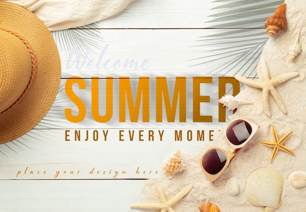 Summer background with beach accessories on white wood table mockup template for your design Premium Psd