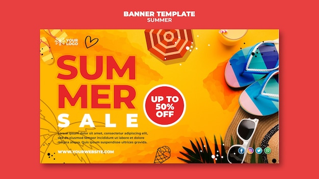 Summer banner on sand with flip flops Free Psd