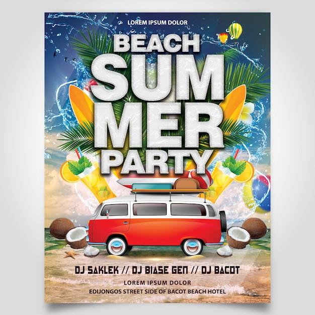 ココナッツの木と車のフライヤーテンプレート編集可能なレイヤーと夏のビーチパーティー Premium Psd