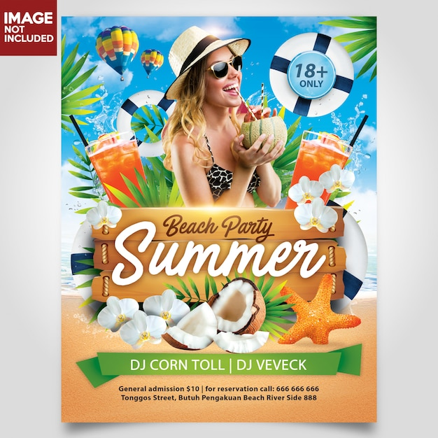 Summer beach party with coconut tree flyer template editable layer Premium Psd