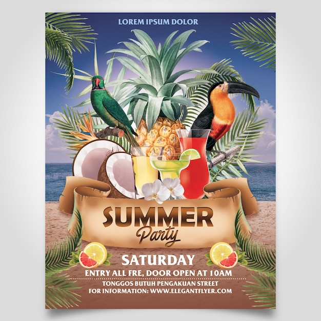 Summer beach party with coconut tree and pineaple flyer template editable layer Premium Psd