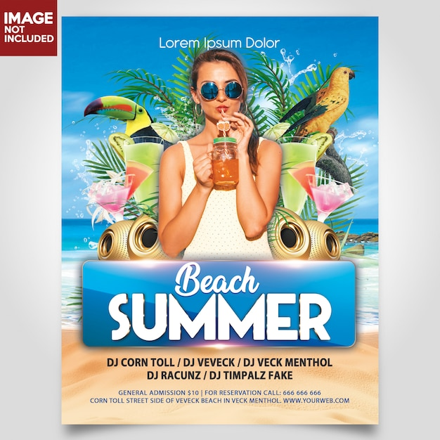 Summer beach party with girl and bird flyer template Premium Psd