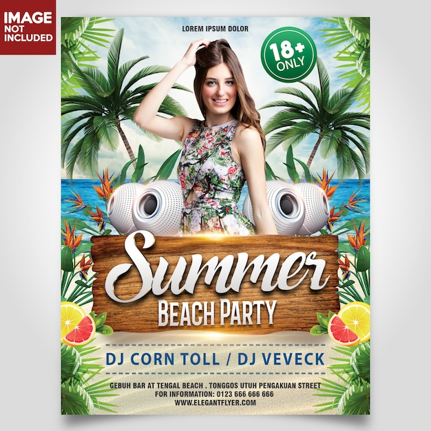 Summer beach party with girl and coconut tree flyer template Premium Psd