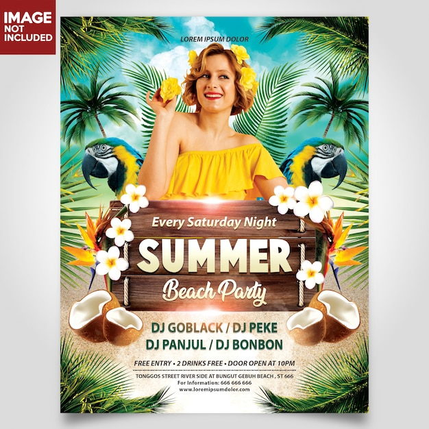 Summer beach party with girl flyer template Premium Psd