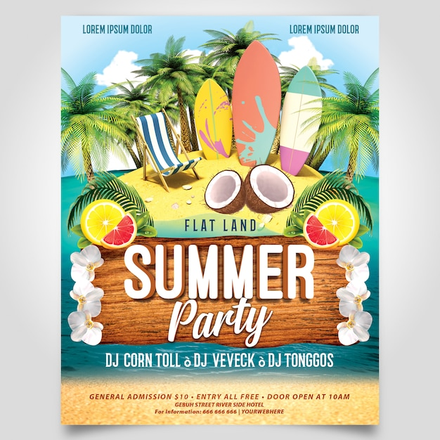 Summer beach party with surfer board flyer template editable layer Premium Psd