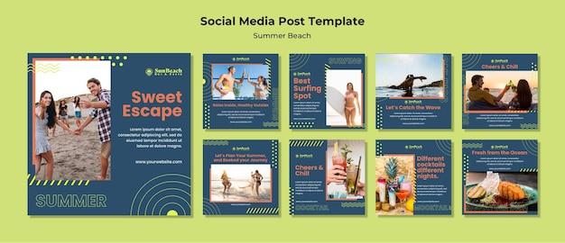Modello di post sui social media sulla spiaggia estiva Psd Gratuite