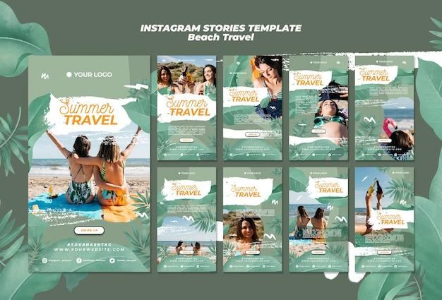 Summer beach travel instagram stories Free Psd