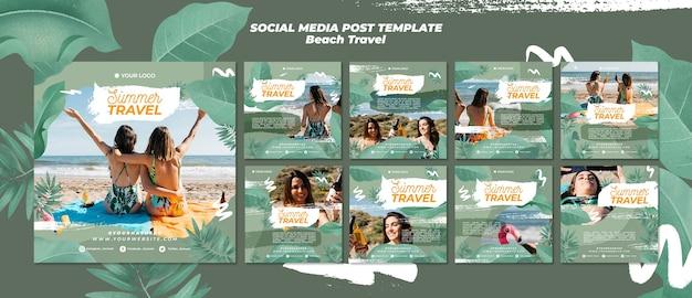 Summer beach travel social media post Free Psd