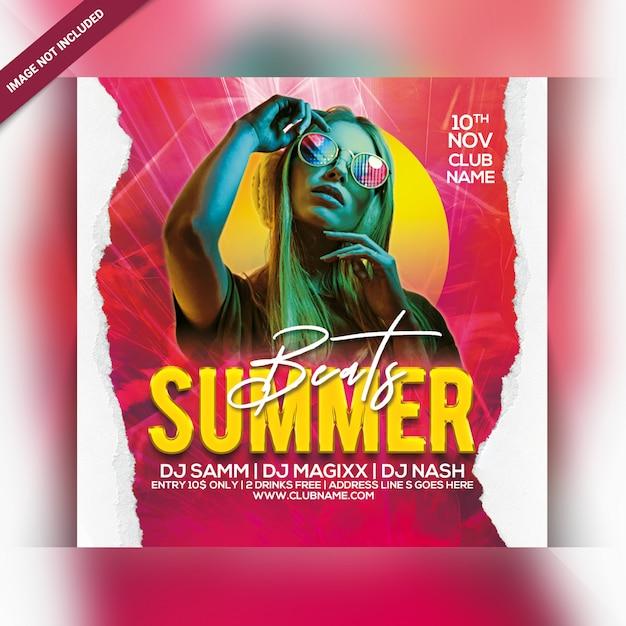 Summer beats party flyer Premium Psd