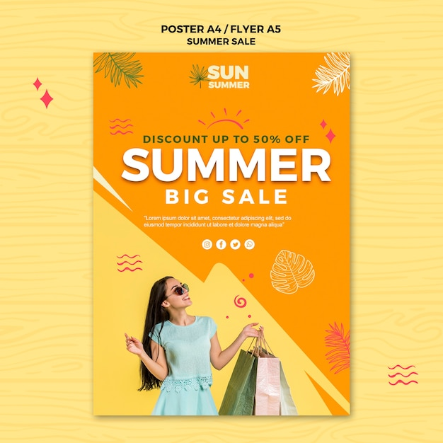 Summer big sales poster template Free Psd