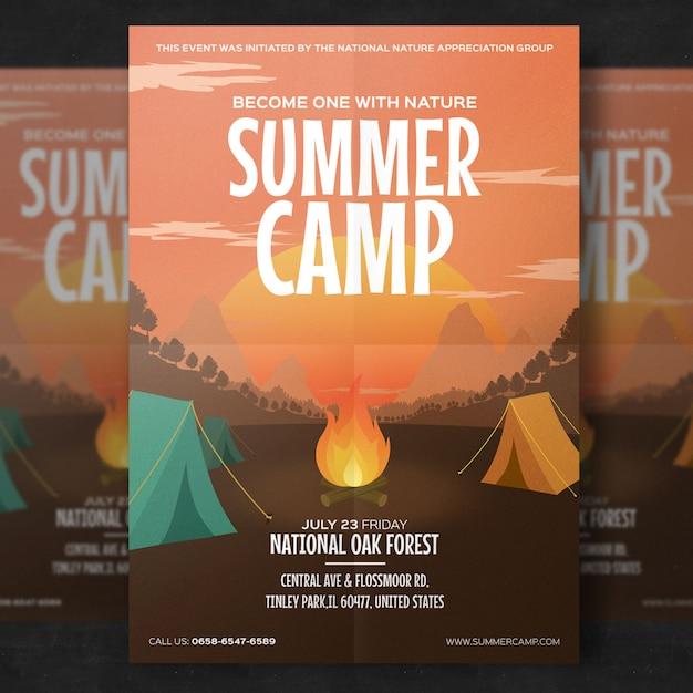 Summer camp flyer template Premium Psd
