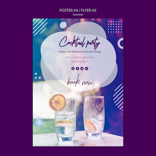 Summer cocktail poster template with photo Free Psd