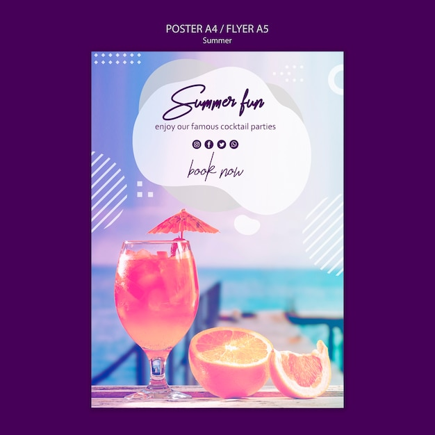 Summer cocktail poster template Free Psd