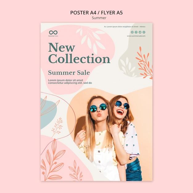 Летняя коллекция распродажа постеров в стиле Бесплатные Psd
