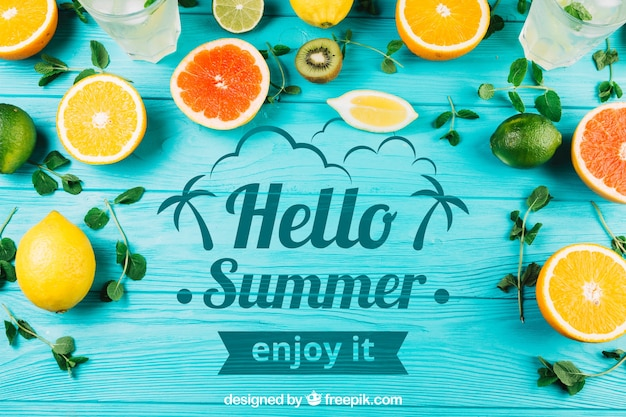 Summer composition with fruits and copyspace Free Psd