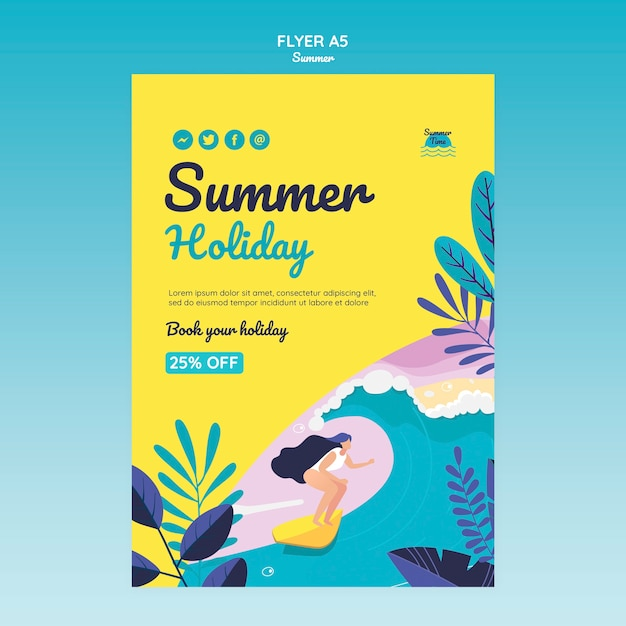 Летняя концепция флаер шаблон Premium Psd