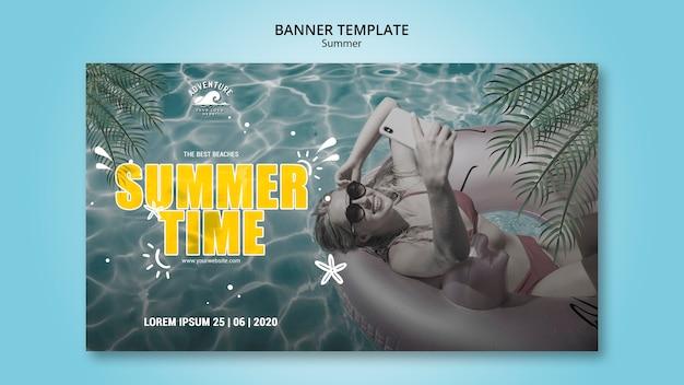 Summer concept horizontal banner template Free Psd