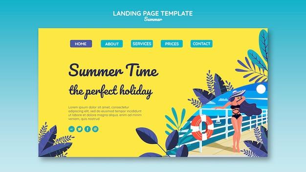 夏のコンセプトのランディングページテンプレート 無料 Psd