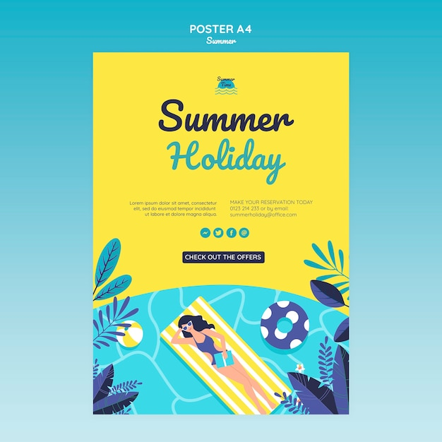 Летняя концепция плакат шаблон Бесплатные Psd