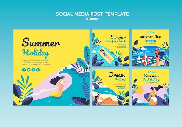 Летняя концепция социальной сети опубликовать шаблон Бесплатные Psd