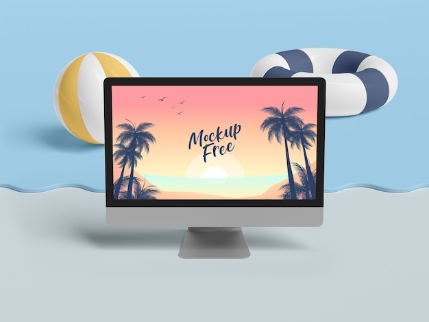 Summer concept with computer and sea Free Psd