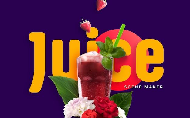 Summer custom scene with juice mockup PSD file | Premium