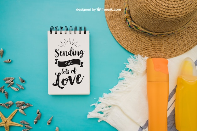 Summer Decoration summer decoration with notepad on blue background psd file | free