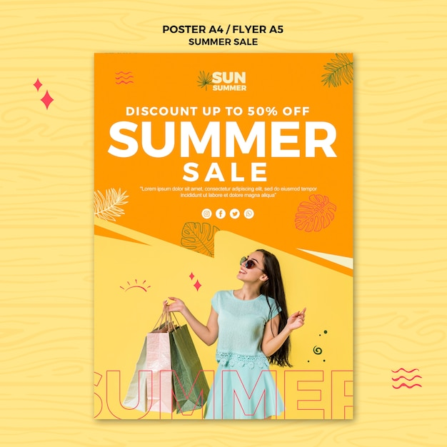 Summer discount sales poster template Free Psd