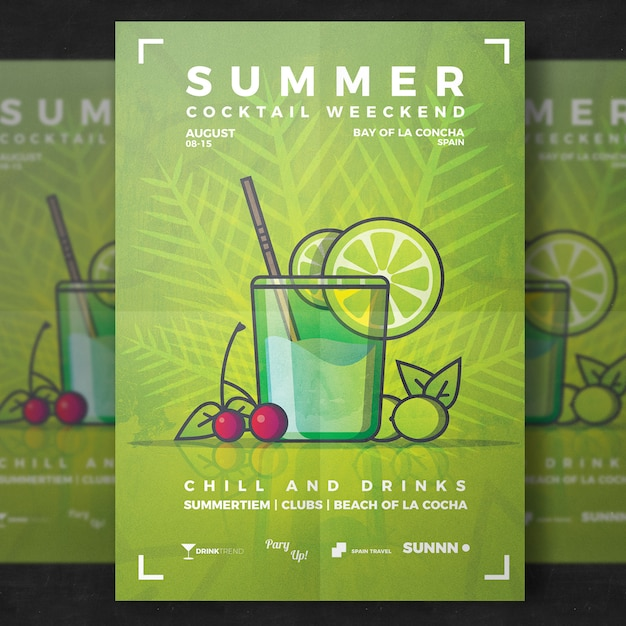summer drink flyer template psd file free download