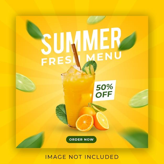 Summer drink menu promotion instagram post banner template Premium Psd