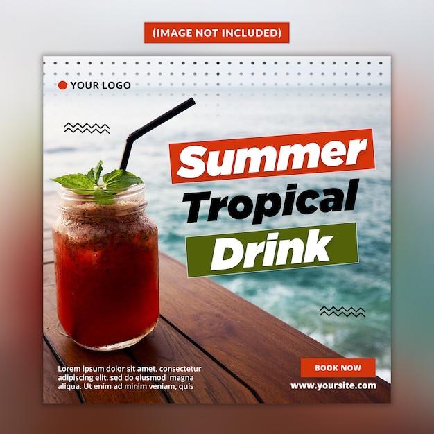 Summer drink social media post template Premium Psd