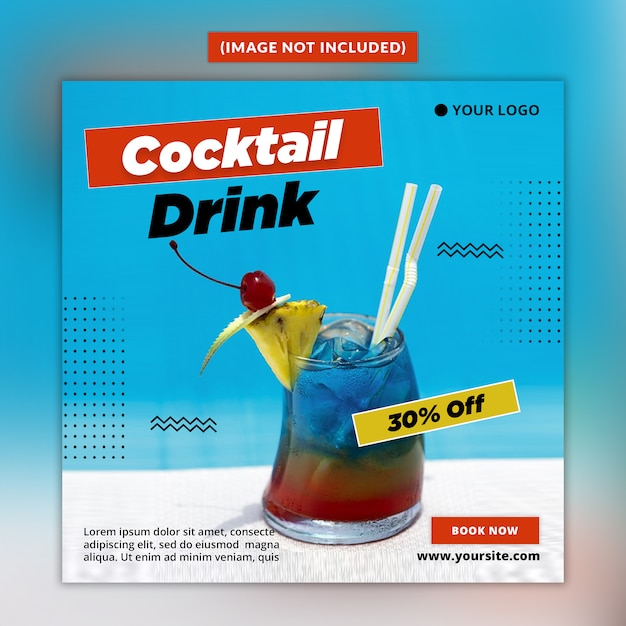 Шаблон сообщения в социальных сетях summer drink Premium Psd