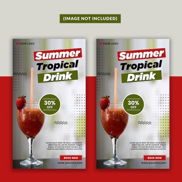 Summer drink social media story psd Premium Psd
