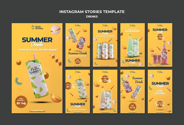 Summer drinks pure refreshment instagram post Free Psd