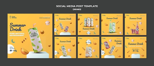 Summer drinks pure refreshment social media stories Free Psd