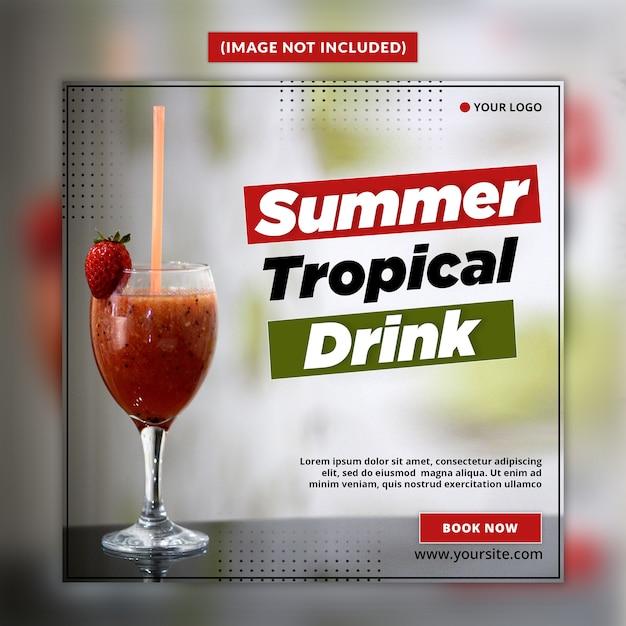 Summer drinks social media post template Premium Psd
