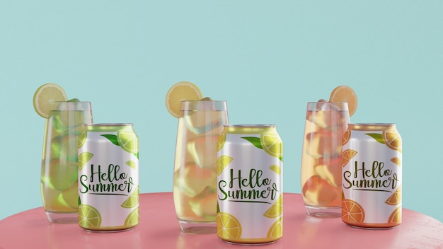 Summer drinks on table with blue background Free Psd